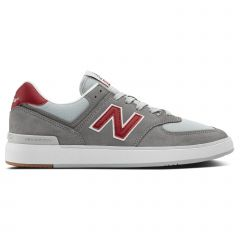 New Balance Men's All Coast 574 Low Top Sneaker Shoes Gray/Red