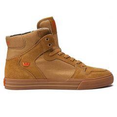 Supra Men's Vaider Hi Top Sneaker Shoes Tan-Lt Gum Brown