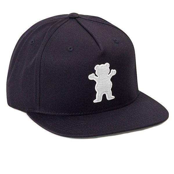 Grizzly Griptape Men's OG Bear Chain Stitch Snapback Hat Black
