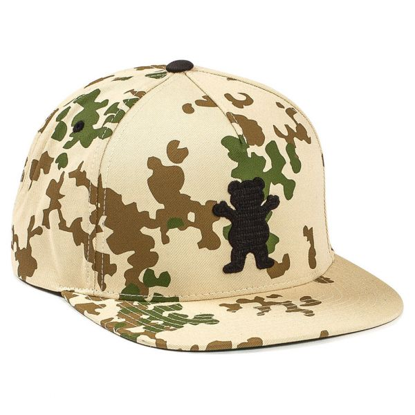 Grizzly Griptape Men's OG Bear Chain Stitch Snapback Hat Dessert Camo Brown