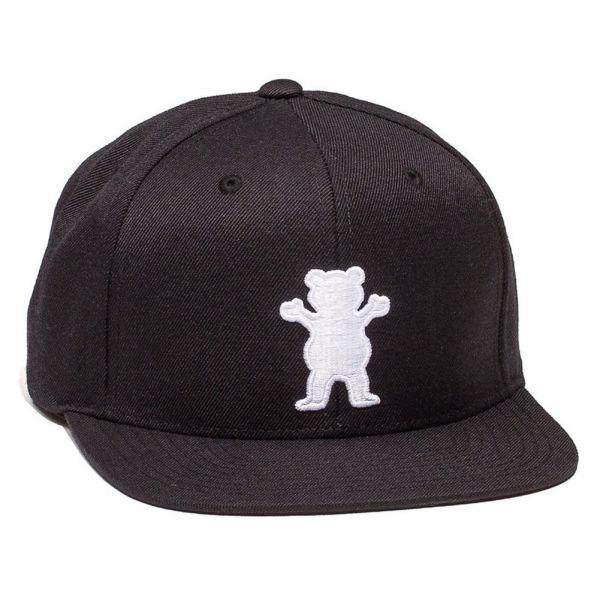 Grizzly Griptape Men's Wooly OG Bear Logo Strapback Hat Black