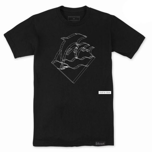 Pink Dolphin Men's Waves Depth Short Sleeve T Shirt Black